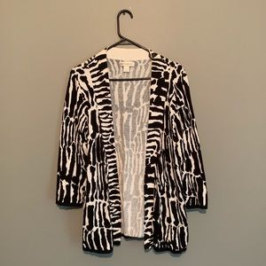 Zebra cardigan with optional front-tie feature